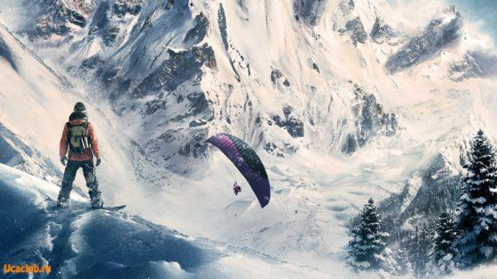 Скачать обои - парапланерист и сноубордист