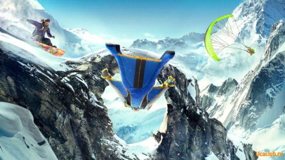 Вингсьют между сноубордом и парапланеристом. Очень яркие обои